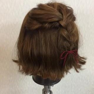 ゆるふわ ショート ボブ 簡単ヘアアレンジ ヘアスタイルや髪型の写真・画像