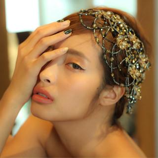 ショート 簡単ヘアアレンジ 結婚式 外国人風 ヘアスタイルや髪型の写真・画像 ヘアスタイルや髪型の写真・画像