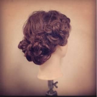 ショート ヘアアレンジ 編み込み コンサバ ヘアスタイルや髪型の写真・画像