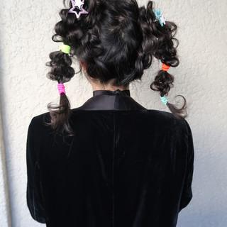 パーティー 結婚式 ツインテール ガーリー ヘアスタイルや髪型の写真・画像