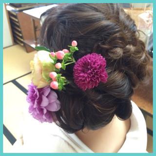 編み込み 結婚式 着物 ブライダル ヘアスタイルや髪型の写真・画像
