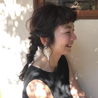 ナチュラル ヘアアレンジ 前髪パーマ セミロング ヘアスタイルや髪型の写真・画像