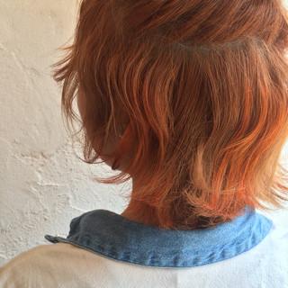 ハーフアップ オレンジ ブリーチ ハイライト ヘアスタイルや髪型の写真・画像
