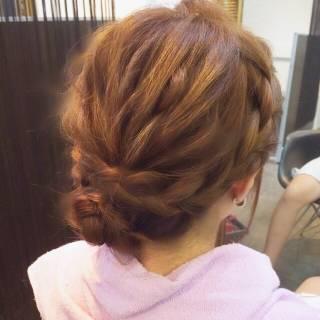 アップスタイル 編み込み ミディアム ナチュラル ヘアスタイルや髪型の写真・画像