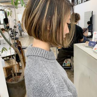ボブ コントラストハイライト ミニボブ ストリート ヘアスタイルや髪型の写真・画像