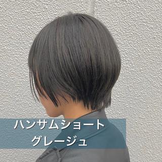 ショート ミルクティーグレージュ ナチュラル ショートボブ ヘアスタイルや髪型の写真・画像