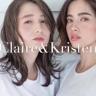 大人女子 透明感 ウェーブ ミディアム ヘアスタイルや髪型の写真・画像