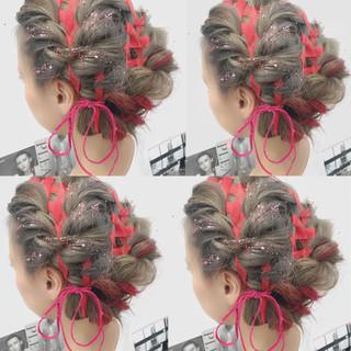 簡単ヘアアレンジ ゆるふわ ワイドバング ショート ヘアスタイルや髪型の写真・画像