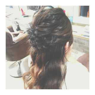 ハーフアップ ハイライト ヘアアレンジ セミロング ヘアスタイルや髪型の写真・画像