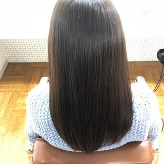 縮毛矯正 ストレート ダークアッシュ 暗髪 ヘアスタイルや髪型の写真・画像