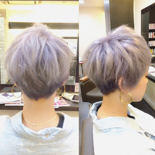 ショート グラデーションカラー 透明感 外国人風 ヘアスタイルや髪型の写真・画像