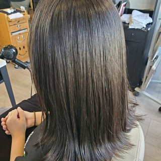 透明感カラー 切りっぱなし セミロング ダークカラー ヘアスタイルや髪型の写真・画像