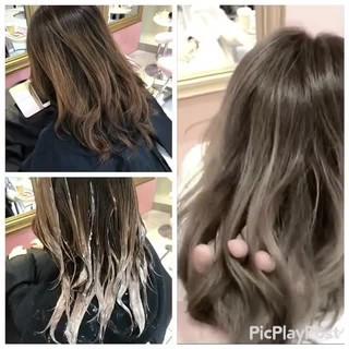 セミロング ストリート 透明感 シルバー ヘアスタイルや髪型の写真・画像