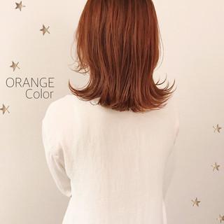 ストリート セミロング オレンジ オレンジカラー ヘアスタイルや髪型の写真・画像
