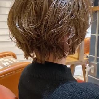 ナチュラル ショートボブ パーマ ショートヘア ヘアスタイルや髪型の写真・画像