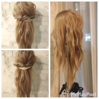 ヘアアレンジ 結婚式 簡単ヘアアレンジ ミディアム ヘアスタイルや髪型の写真・画像