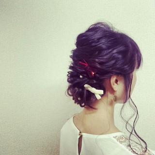 結婚式 ロング 編み込み ヘアアレンジ ヘアスタイルや髪型の写真・画像