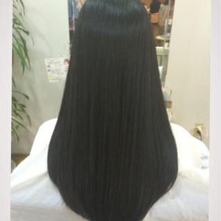 ロング ストレート 簡単ヘアアレンジ 黒髪 ヘアスタイルや髪型の写真・画像