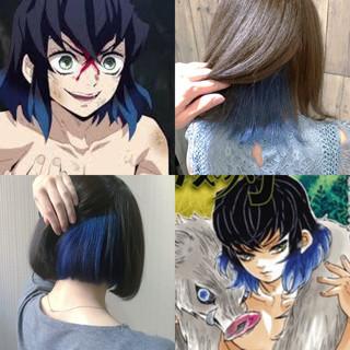 ネイビーブルー ブルージュ ブルーアッシュ ミディアム ヘアスタイルや髪型の写真・画像
