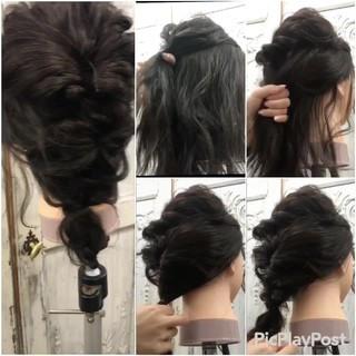 ゆるふわ セミロング ヘアアレンジ フェミニン ヘアスタイルや髪型の写真・画像