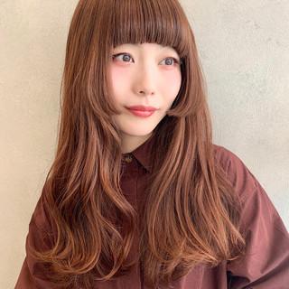 前髪 フェミニン 姫カット ロング ヘアスタイルや髪型の写真・画像