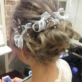 ガーリー 結婚式 夏 グラデーションカラー ヘアスタイルや髪型の写真・画像