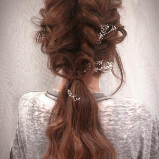 フェミニン ゆるふわ ロング 簡単ヘアアレンジ ヘアスタイルや髪型の写真・画像