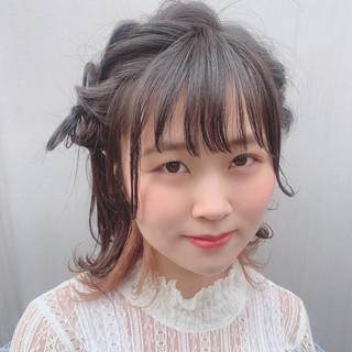 簡単ヘアアレンジ 外はね かわいい ミディアム ヘアスタイルや髪型の写真・画像