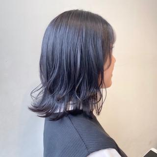 ボブ バイオレットアッシュ ブルーバイオレット 暗髪バイオレット ヘアスタイルや髪型の写真・画像