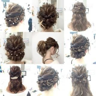 波ウェーブ 編み込み セミロング モテ髪 ヘアスタイルや髪型の写真・画像