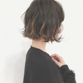 黒髪 切りっぱなし インナーカラー デート ヘアスタイルや髪型の写真・画像