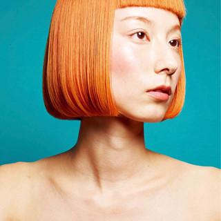 オレンジ モード ボブ ブラントカット ヘアスタイルや髪型の写真・画像