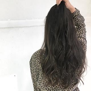 暗髪 外国人風 ハイライト ゆるふわ ヘアスタイルや髪型の写真・画像