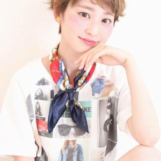 ハイライト ショート フェミニン ピュア ヘアスタイルや髪型の写真・画像