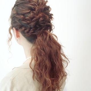 ロング 大人かわいい 二次会 簡単ヘアアレンジ ヘアスタイルや髪型の写真・画像