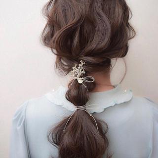 簡単ヘアアレンジ ナチュラル 結婚式 ヘアアレンジ ヘアスタイルや髪型の写真・画像