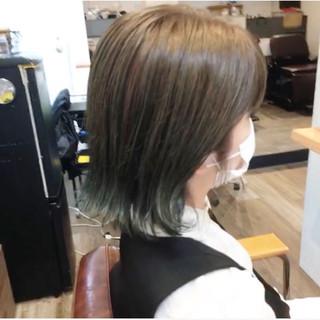 ボブ ショートボブ インナーカラー 切りっぱなしボブ ヘアスタイルや髪型の写真・画像