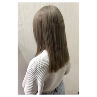 デート アッシュ セミロング 大人女子 ヘアスタイルや髪型の写真・画像