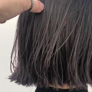 ボブ ナチュラル 切りっぱなしボブ 透明感カラー ヘアスタイルや髪型の写真・画像
