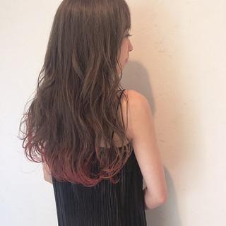ロング エレガント 裾カラー ピンクカラー ヘアスタイルや髪型の写真・画像