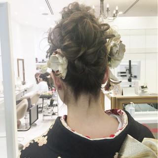 大人女子 暗髪 ヘアアレンジ ロング ヘアスタイルや髪型の写真・画像