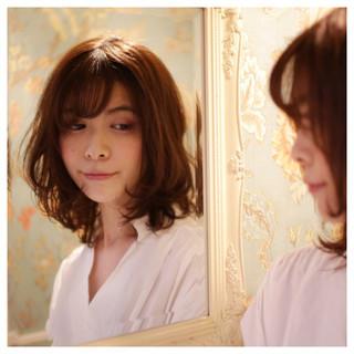 セミロング モテ髪 デート ゆるふわ ヘアスタイルや髪型の写真・画像