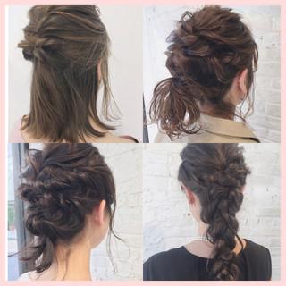 ミディアム ガーリー 簡単ヘアアレンジ 結婚式 ヘアスタイルや髪型の写真・画像
