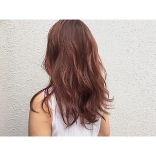 ベージュ ハイライト ピンクブラウン セミロング ヘアスタイルや髪型の写真・画像