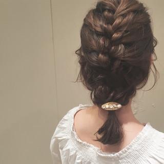 女子会 ヘアアレンジ ナチュラル 編み込み ヘアスタイルや髪型の写真・画像