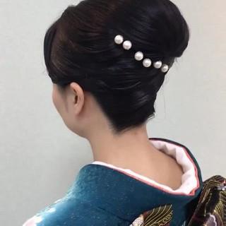 和装 ヘアアレンジ セミロング エレガント ヘアスタイルや髪型の写真・画像