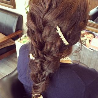 ヘアアレンジ 結婚式 ゆるふわ 編み込み ヘアスタイルや髪型の写真・画像