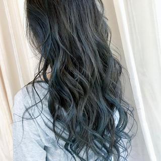 ブルーブラック ネイビーブルー ネイビー ブルーアッシュ ヘアスタイルや髪型の写真・画像
