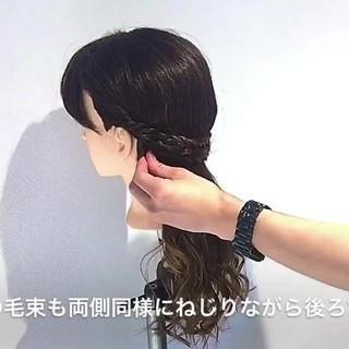 フェミニン アウトドア デート セミロング ヘアスタイルや髪型の写真・画像