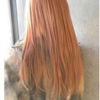 ガーリー 外国人風カラー アプリコットオレンジ ハイトーン ヘアスタイルや髪型の写真・画像